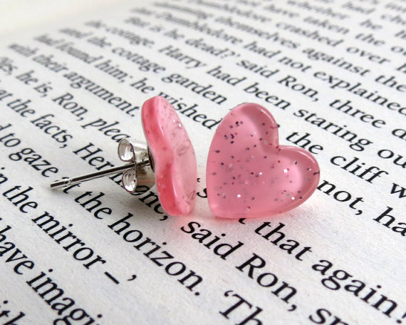 Pink Sparkle Heart Earrings
