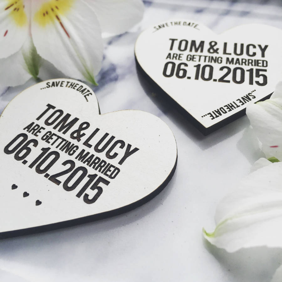 Original White Wooden Magnet Save The Date