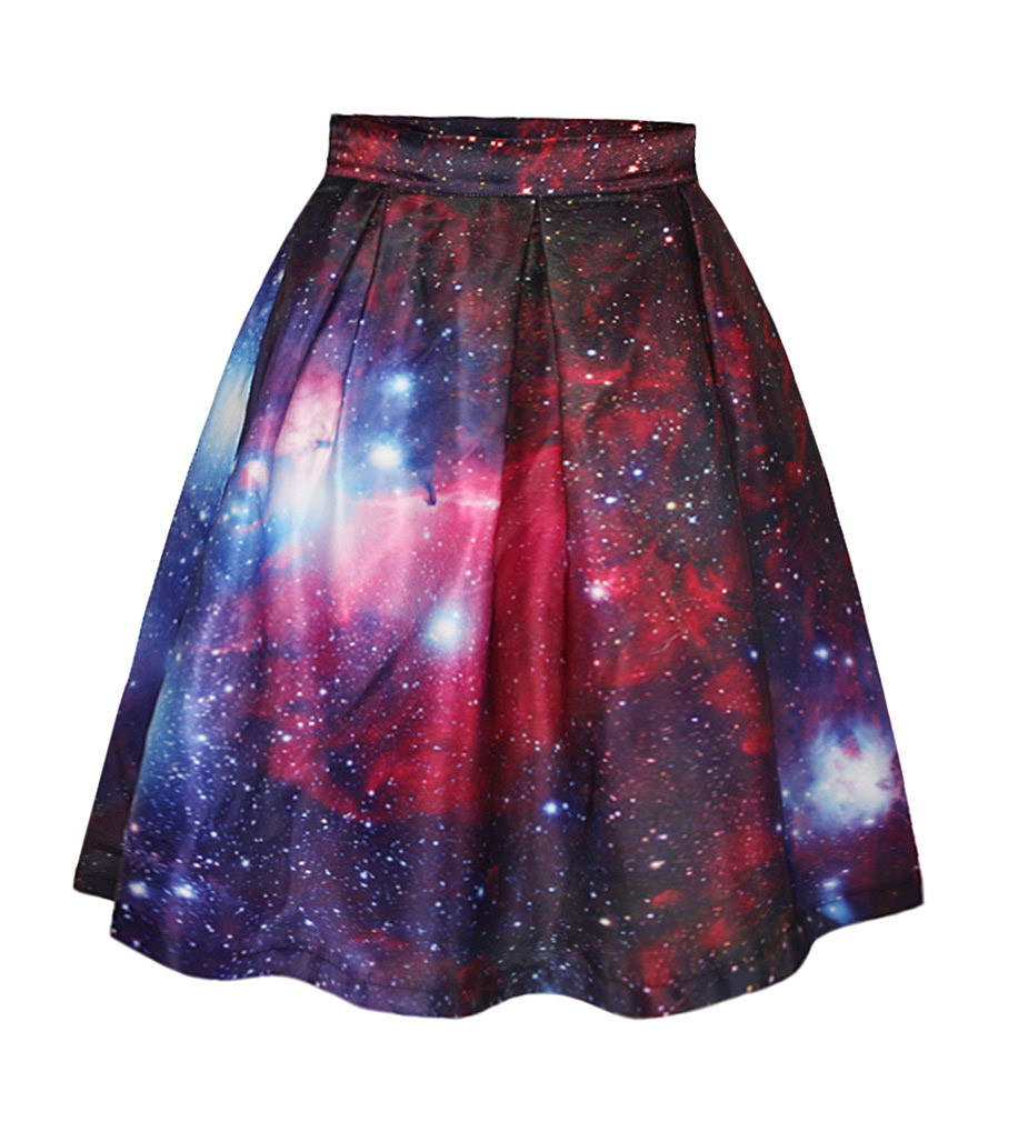 Pretty-Women-Girl-Sexy-3D-Red-Galaxy-Zipper-Flared-Pleated-Knee-High-font-b-Skirt-b