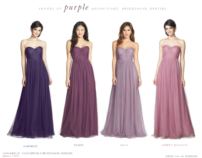 mismatched-purple-bridesmaid-dresses